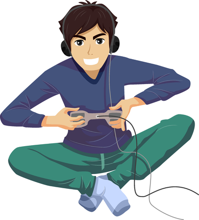 energized: Illustration Featuring a Young Teenage Guy Pressing Hard on the Buttons of His Video Game Controller as He Plays