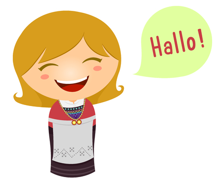그녀의 언어로 말하는 노르웨 이어 제복의 어린 소녀의 귀여운 일러스트