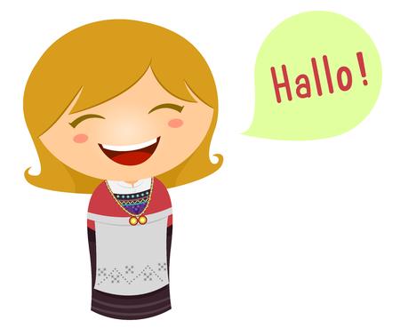 Nette Illustration eines kleinen Mädchens in einem norwegischen Kostüm , der hallo in ihrer Sprache sagt Standard-Bild - 83242356