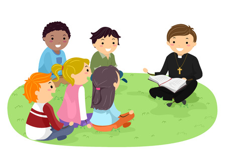 Stickman Illustration Featuring Teenagers in a Park Listening to a Priest Read the Bible