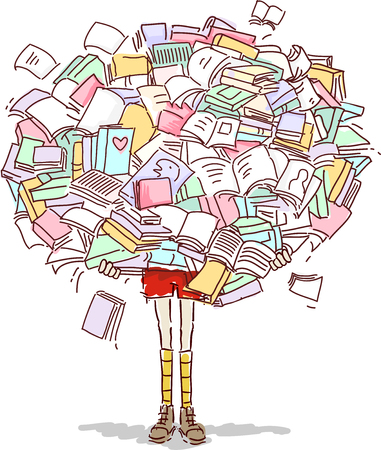 Doodly Illustration Featuring a Little Girl Lost Behind a Huge Pile of Books