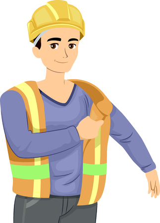 Illustration of a Teenage Construction Worker in a Safety Hat Putting on a Safety Vest