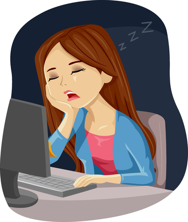 Illustration Featuring a Young Teenage Girl Dozing Off to Sleep While Using Her Computer