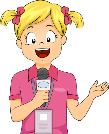 Colorful Illustration Featuring a Little Girl Wearing a Press ID and Holding a Microphone Reporting Live
