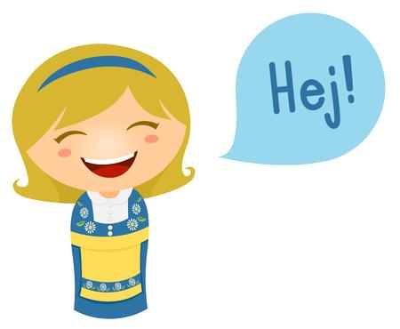그녀의 언어로 말하는 스웨덴의 의상에서 어린 소녀의 귀여운 일러스트 스톡 콘텐츠