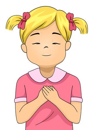 그녀가기도하는 동안 그녀의 눈을 감 으면와 그녀의 손을 그녀의 손에 눌러 작은 소녀를 갖춘 다채로운 그림