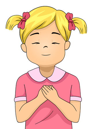 Colorful Illustration Featuring a Little Girl Closing Her Eyes and Pressing Her Hands Against Her Chest as She Prays Stock Photo