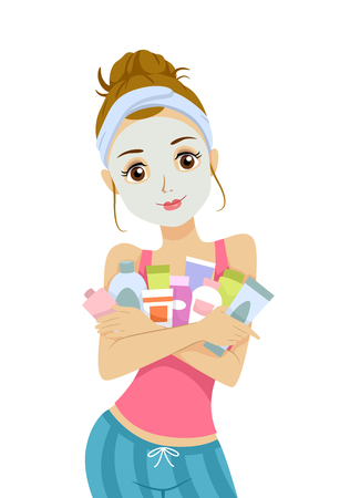 rejuvenation: Illustration of a Young Teenage Girl in a Facial Mask Hugging a Bunch of Beauty Products