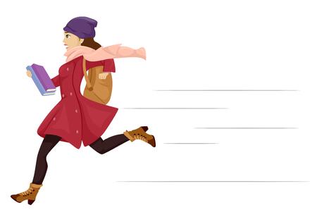 clase media: Ilustración con una adolescente en ropa de invierno corriendo tarde para la escuela