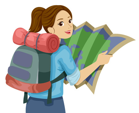 Illustration Featuring a Teenage Girl Carrying a Heavy Backpack Examining a Map