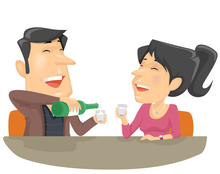 Illustration Featuring a Couple Giggling as They Share a Bottle of Soju 写真素材