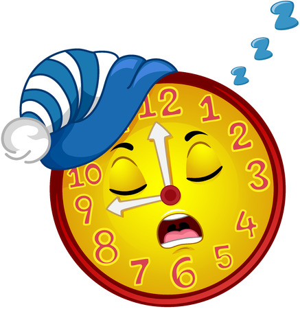 droopy: Colorful Mascot Illustration Featuring a Wall Clock Wearing a Nightcap Snoring Loudly