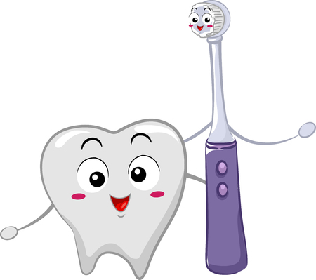 Cute Mascot Illustration Featuring a Pearly White Tooth Standing Beside an Electric Toothbrush Stock Photo