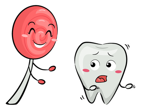 Mascot Illustration Featuring a Scared Tooth Being Chased by an Enthusiastic Pink Lollipop Stock Photo