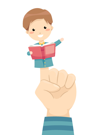 Ilustración colorida con un niño pequeño sosteniendo una marioneta leyendo un libro Foto de archivo
