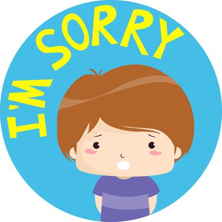 Illustration colorée mettant en vedette un petit garçon apologétique avec les mots im Désolé écrit au-dessus de lui Banque d'images - 84108571