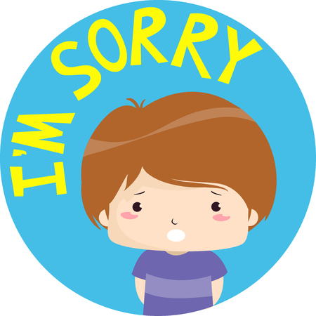 Colorful Illustration Featuring an Apologetic Little Boy With the Words Im Sorry Written Above Him Stock Photo