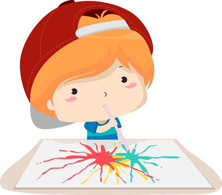 Colorful Illustration Featuring a Cute Little Boy Using a Straw to Spread Paint Across a Piece of Paper