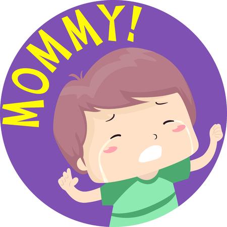 Kleurrijke typografie illustratie met een huilende kleine jongen vragen om zijn mama