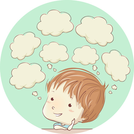 Colorful Illustration Featuring a Cute Little Boy With Blank Thought Clouds Hovering Over His Head
