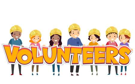 Stickman Illustration Featuring a Group of People in Hard Hats Holding a Paper Cutout That Spells the Word Volunteers