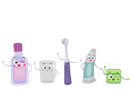 Colorful Mascot Illustration Featuring Objects Commonly Used in Dental Care