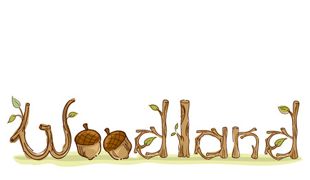 Colorful Typography Illustration Featuring the Word Woodland Decorated With Twigs and Acorns