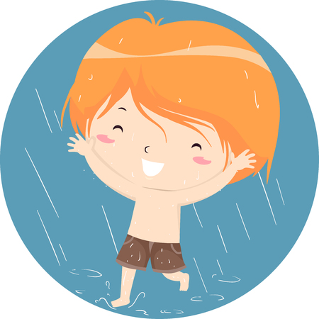 Colorful Illustration Featuring a Happy Little Boy Running Around While Getting Soaked in the Rain Stock Photo