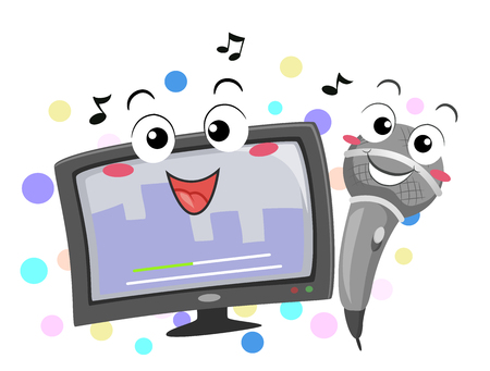 Colorful Mascot Illustration Featuring a Karaoke Monitor and a Microphone Singing a Song Together Фото со стока