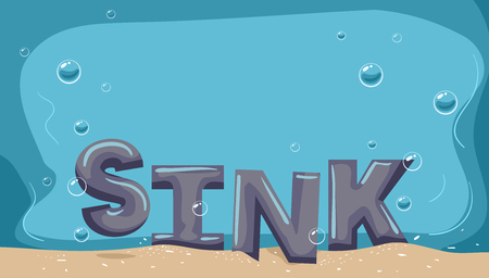 Typography Illustration Featuring the Word Sink Resting at the Bottom of the Ocean