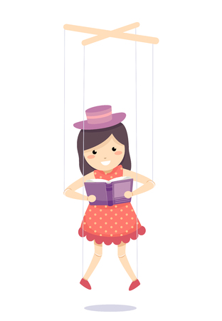 Illustration colorée comportant une marionnette habillée comme une petite fille en train de lire un livre