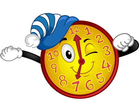 Colorful Mascot Illustration Featuring a Wall Clock Wearing a Nightcap Stretching Out