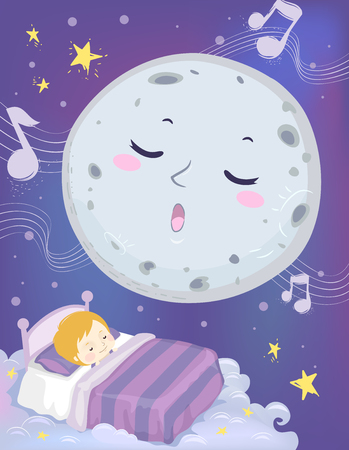 Colorful Mascot Illustration Featuring a a Full Moon Lulling a Cute Little Boy to Sleep Stock Photo