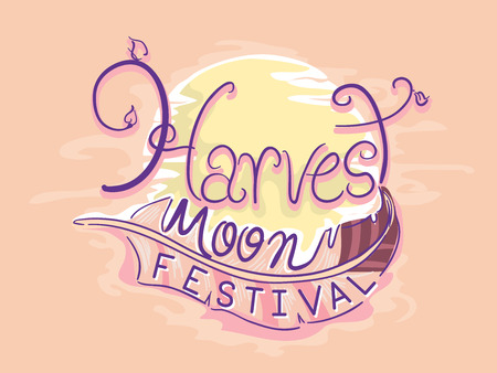 Typography Illustration Featuring a Full Moon With the Words Harvest Moon Festival Wrapped Around It
