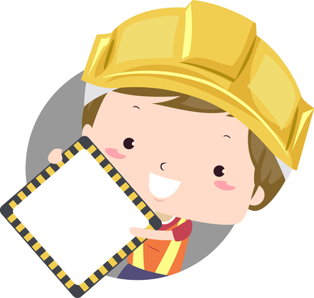 Colorful Illustration Featuring a Cute Little Boy in a Hard Hat Holding a Blank Road Sign Reklamní fotografie