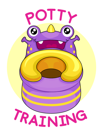 Colorful Mascot Illustration Featuring a Friendly Potty Training Seat With the Words Potty Training Written Around It