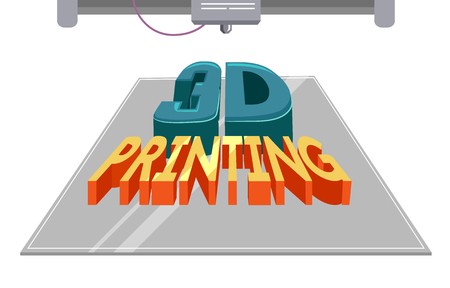 Typography Illustration Featuring a 3 D Printing Machine Printing a Block of Text