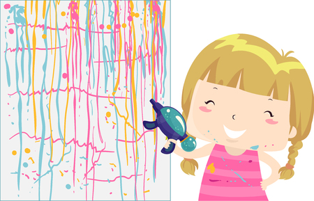 Colorful Illustration Featuring a Cute Little Girl Painting a Wall Using a Squirt Gun