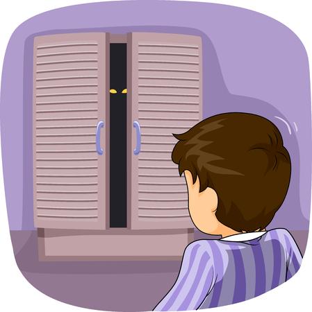 Illustrazione con un ragazzino in pigiama lasciato rigido congelato mentre fissa il mostro nel suo armadio Archivio Fotografico - 84126366
