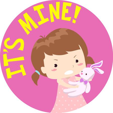 Illustration de typographie colorée mettant en vedette une petite fille en colère tenant son lapin farci étroitement Banque d'images - 84077593