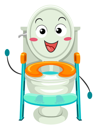 Colorful Mascot Illustration Featuring a Toilet Training Seat with a Ladder Attached to it Waving Hello