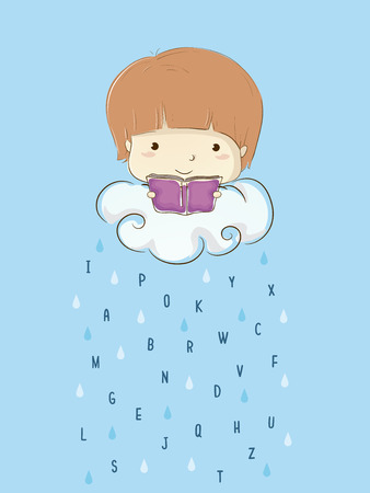 Colorful Illustration Featuring a Cute Little Boy Reading a Book While Sitting on a Raincloud Dropping Letters of the Alphabet