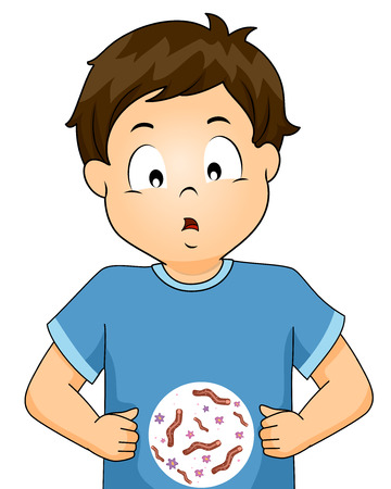 Illustration Featuring a Worried Little Boy Stressing Over Intestinal Worms Stockfoto