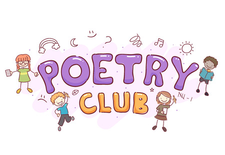 Stickman Illustration Featuring the Words Poetry Club Surrounded by Young Kids Stock Photo