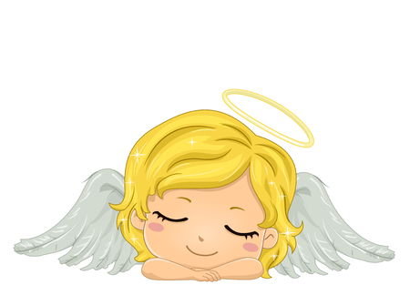 dreamland: Colorful Illustration Featuring a Cute Little Winged Girl With a Halo on Her Head Sleeping Soundly Stock Photo