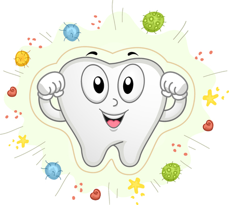 Colorful Mascot Illustration Featuring a Pearly White Tooth Flexing its Biceps as it Fights Off Bacteria and Cavities