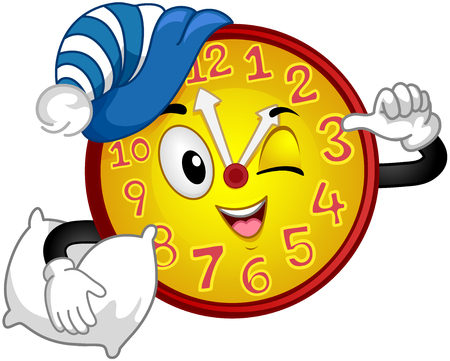 siesta: Colorful Mascot Illustration Featuring a Wall Clock Wearing a Nightcap and Carrying a Pillow Pointing to the Time Stock Photo