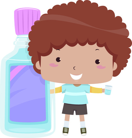 enjuague bucal: Colorida ilustración con un lindo niño pequeño agarrado a un enjuague bucal gigante