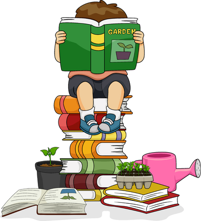 Colorful Illustration Featuring a Cute Little Boy Reading a Book While Sitting on a Pile of Books Stock Photo