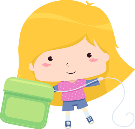 Colorful Illustration Featuring a Cute Little Girl Drawing a Stretch of Filament From a Big Dental Floss Pack